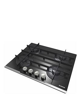 Hoover   Hgv64Stcv B 60 Cm Gas Hob, 4 Burners, Front Control, Cast Iron Pan Supports - Black - Hob Only