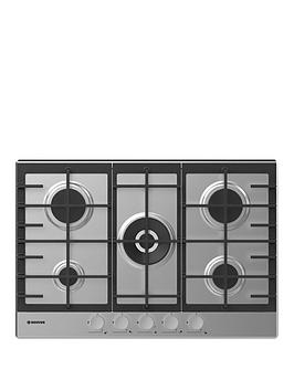 Hoover   H-Hob 300 Gas Hhg75Wmx 75Cm Gas Hob, 5 Burners, Front Control, Cast Iron Pan Supports - Stainless Steel - Hob Only
