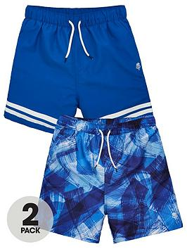 V by Very V By Very Boys 2 Pack Print/Stripe Swim Shorts - Multi Picture