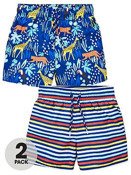 V by Very V By Very Boys Two Pack Printed And Stripe Swim Shorts - Multi Picture