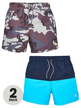 V by Very V By Very Boys 2 Pack Swim Shorts - Camo/Colour Block Picture
