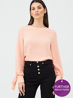 v-by-very-essentialnbsptie-sleeve-long-sleeve-shell-top-blush