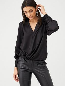 V by Very V By Very Essential Long Sleeve Wrap Top - Black Picture