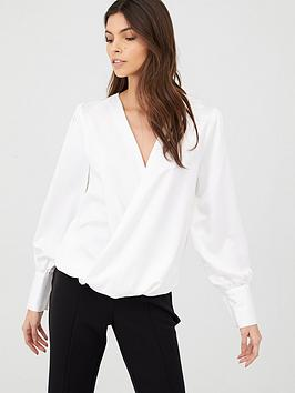 V by Very V By Very Long Sleeve Wrap Top - Ivory Picture