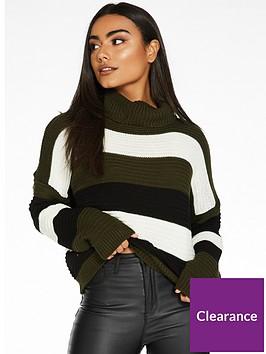 quiz-knitted-stripe-long-sleeve-roll-neck-crop-jumper-khaki