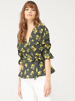 V by Very V By Very Cotton Wrap Blouse - Black Floral Picture