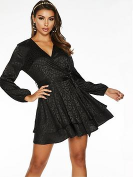 Quiz Quiz Jacquard Satin Skater Dress - Black Picture