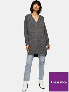 topshop-v-neck-split-hem-jumper-charcoal