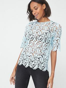 V by Very V By Very Lace Short Sleeve Shell Top - Blue