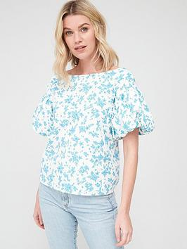V by Very V By Very Printed Bardot Cotton Blouse - White Floral Picture