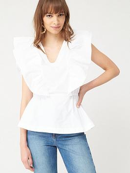 V by Very V By Very Ruffle Cotton Blouse - White Picture