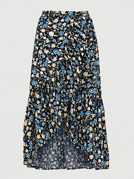V by Very V By Very Linen Ruffle Front Wrap Midi Skirt - Black Floral Picture
