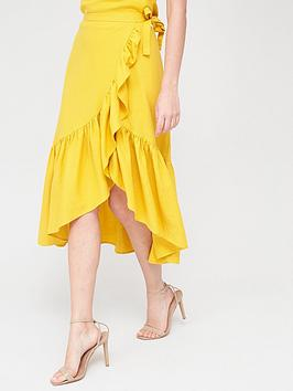 V by Very V By Very Linen Ruffle Front Wrap Midi Skirt - Lemon Picture