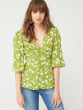 V by Very V By Very Button Through Woven Blouse - Green Floral Picture