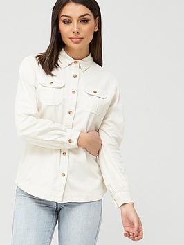 V by Very V By Very Essential Denim Look Shirt - Ecru Picture