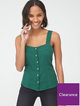 v-by-very-linen-button-through-cami-green