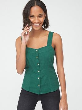 V by Very V By Very Linen Button Through Cami - Green Picture