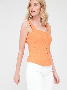 v-by-very-linen-button-through-cami-orange