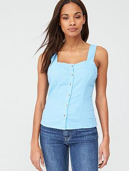 V by Very V By Very Linen Button Through Cami - Blue Picture
