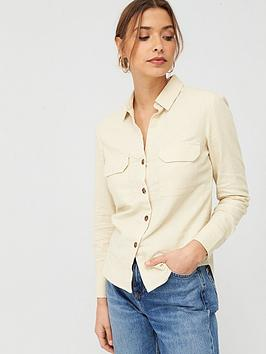 V by Very V By Very Linen Button Through Shirt - Ivory Picture