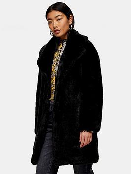 Topshop Topshop Mid Length Faux Fur Jacket - Black Picture