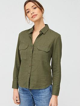 V by Very V By Very Linen Button Through Shirt - Khaki Picture