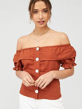 V by Very V By Very Linen Button Through Short Sleeve Bardot Top - Rust Picture