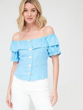 V by Very V By Very Linen Button Through Short Sleeve Bardot Top - Blue Picture