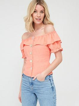 V by Very V By Very Linen Button Through Short Sleeve Bardot Top - Pink Picture