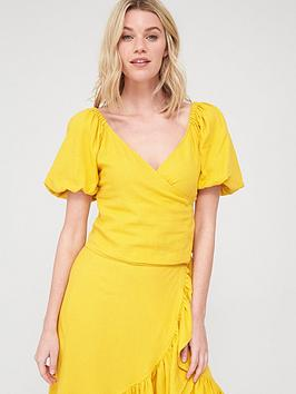 V by Very V By Very Linen Shirred Back Puff Sleeve Wrap Top - Ochre Picture