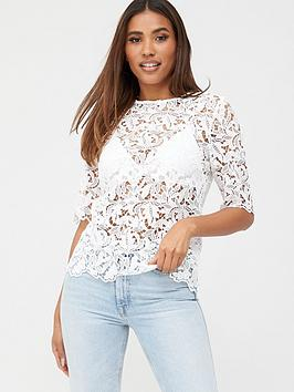 V by Very V By Very Lace Short Sleeve Shell Top - Ivory Picture