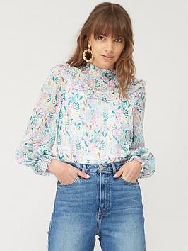 V by Very V By Very Mesh Mix High Neck Long Sleeve Print Blouse - White  ... Picture