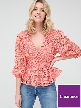 v-by-very-peplum-button-through-lace-blouse-coral