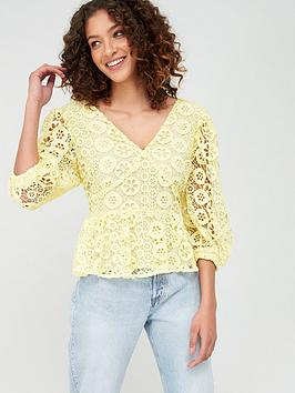V by Very V By Very Peplum Button Through Lace Blouse - Lemon Picture