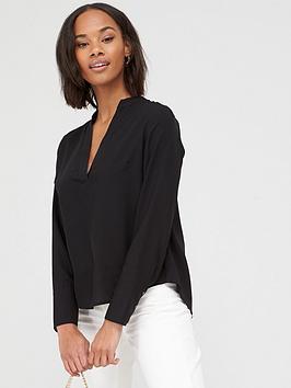 V by Very V By Very Tencel Notch Neck Shirt - Black Picture