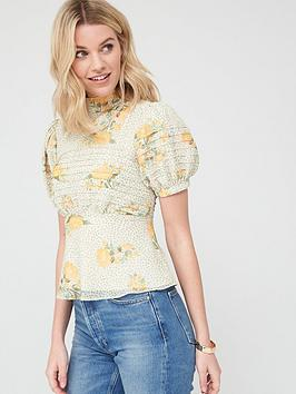 V by Very V By Very Pintuck High Neck Blouse - Floral Picture