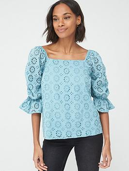 V by Very V By Very Square Neck Broderie Top - Blue Picture