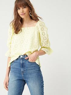 v-by-very-square-neck-broderie-top-yellow