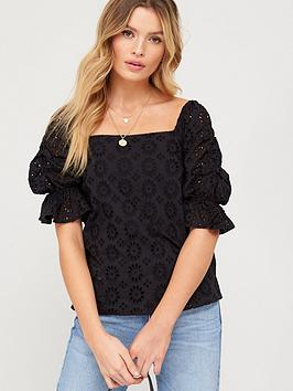V by Very V By Very Square Neck Broderie Top - Black Picture