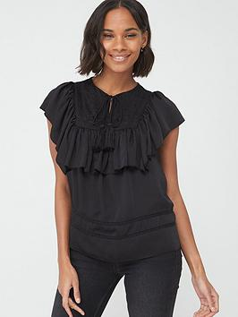 V by Very V By Very Dobby Spot Embroidered Tunic - Black Picture