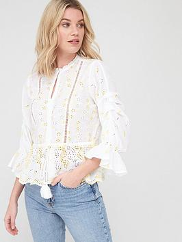 V by Very V By Very Tie Waist Ladder Trim Broderie Blouse - White Picture