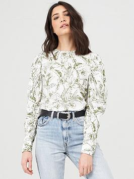 V by Very V By Very Printed Puff Sleeve Shell Top  - White/Print Picture