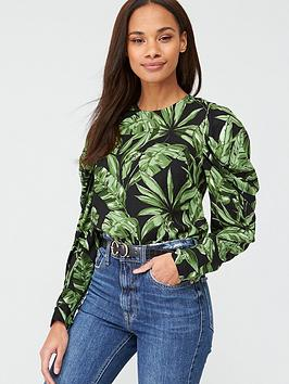 V by Very V By Very Printed Long Sleeve Shell Top - Black/Print Picture