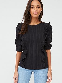 V by Very V By Very Cotton Dobby Stripe Ruffle Blouse - Black Picture