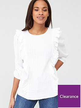 v-by-very-cotton-dobby-stripe-ruffle-blouse-ivory