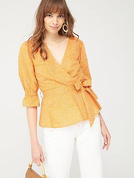 V by Very V By Very Cotton Wrap Blouse - Polka Dot Picture