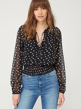 v-by-very-shirred-waist-ladder-trim-blouse-black-spot