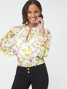 V by Very V By Very Shirred Waist Ladder Trim Blouse - Floral Picture