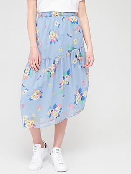 V by Very V By Very Asymmetric Chiffon Printed Midi Skirt - Floral Picture