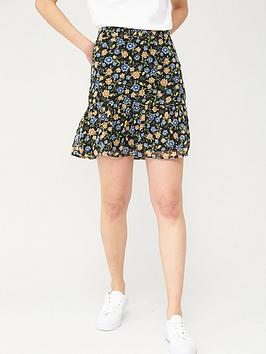 V by Very V By Very Woven Printed Skirt - Black Floral Picture
